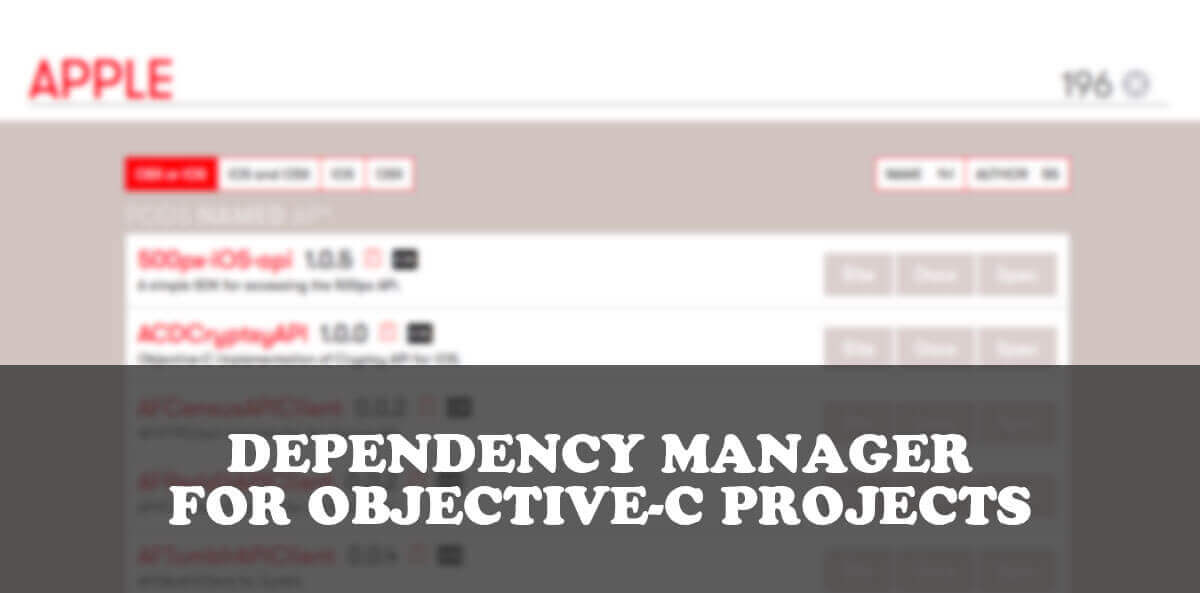 CocoaPods - dependency manager