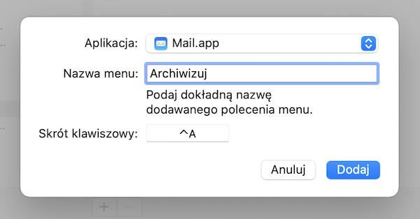 Ekran menu edycji skrótu klawiszowego